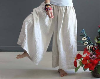 Casual Loose Fitting Linen Wide Leg Pants- Women Clothing