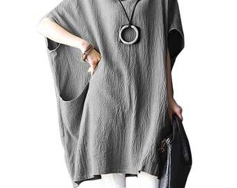 Loose Fitting Cotton Shirt Blouse for Women  - Women Top- Women Clothing - Grey