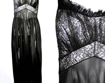 Vintage 1950s Black Nylon Long Nightgown, Luxite Vanity Fair  Free US Shipping!!