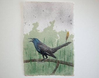 Angry Grackle No. 2 – pulp painting on handmade abaca/cotton/daylily paper (2017), Item No. 256.02