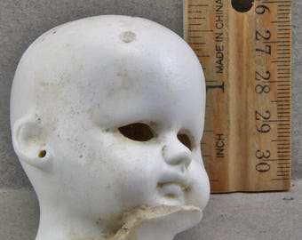 Vintage Antique Excavated Large German Open Pate Doll Head Doll Repair Parts Altered Make your Own Art Doll Supplies from Oscarcrow