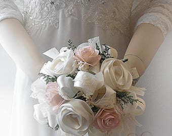 Will ship in 5 days ~ Small Blush and Ivory Sola Flower Bridesmaid Bouquet