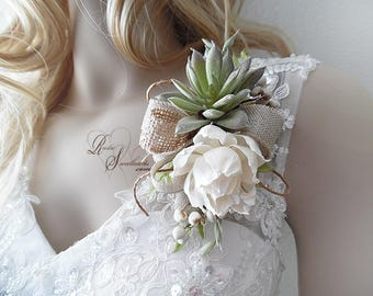 Ships in 5 days ~~~ Rustic Peony Sola Flower & Succulent Wedding Corsage. Can be worn as a wrist corsage or pin on.