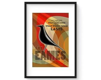 Ray Eames - Giclee Print - Modernist Mid Century Illustration House Bird