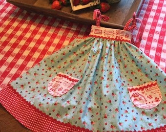 Aqua Strawberry Red Gingham Shoulder Ties Farmers Market Girls Summer Sundress, size 6-9 months, 12 months, 18-24 months, 2-3t, 4 and 5