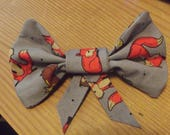 Custom Order for scribblingninja Autumn Woodland Foxes Grey  Fabric Hair Bow Accessory Hair Clip Barrette