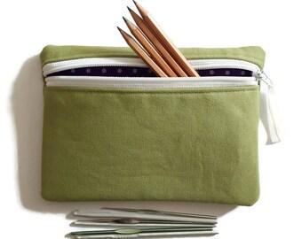 Pencil case, zipped pouch, cosmetic bag, crochet case, Green canvas
