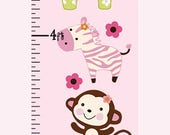 Personalized Jungle Jill / Girl Animals Canvas Growth Chart