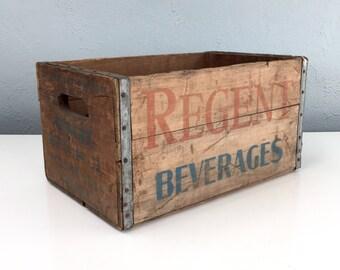Large Regent Beverages Crate, Pittsburgh, PA, Beverage Box, Wooden Soda Crate, Vintage Advertising, Man Cave Decor, Vintage Storage