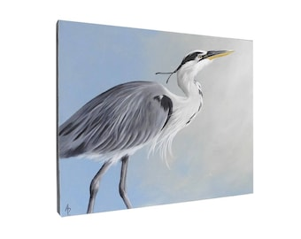 Great Blue Heron painting - shore bird art - beach house decor - 16x20