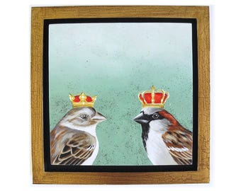 Royal House Sparrow pair- framed square painting - king and queen - happy couple anniversary gift - wedding gift - sparrow painting - crown