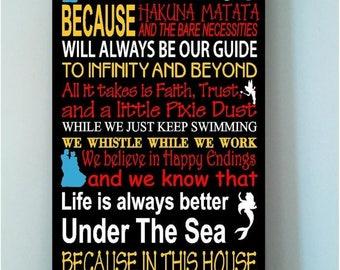 ON SALE Personalized Family Rules We Do Disney wooden subway art sign mulitcolor w characters -In this house we let it go because..