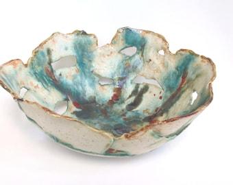 Ceramic Centerpiece Bowl Abstract Clay Art Dish Green Free Form Showcase Piece Pottery Art Dish Contemporary  Modern Art Bowl