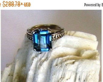 Summer time Sale Event 12x10mm Emerald Cut Swiss Blue Topaz Ring Sterling Silver leaf pattern handmade fine jewelry 14k yellow white 4 5 6 7