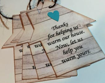 Housewarming gift tags - 10 Favor tags, house silhouette, gray barn wood