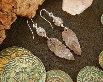 Heartsease Leaf Silver Earrings with Agate Herbal Jewellery