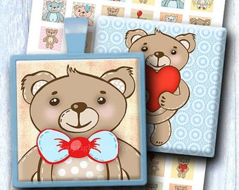 Teddy Bear 1 inch squares. Printable digital collage sheeet.