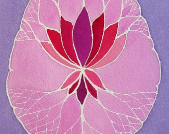 Lavender Lotus Brain  -  original watercolor painting