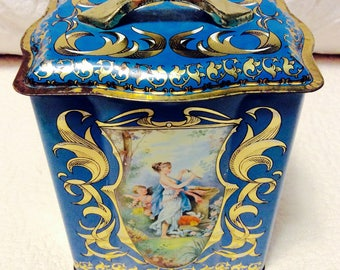 Vintage England Tin Box Blue Gold with Angel and Swirl Handle 1960s