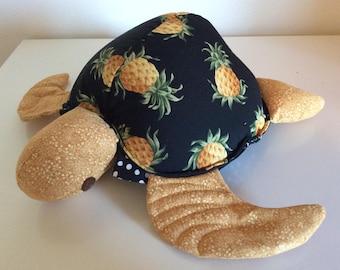 Hawaii Honu, turtle, pineapple fabric pillow
