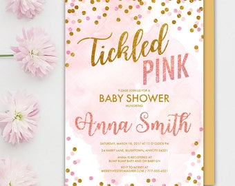 Tickled Pink Baby Shower Invitation, Tickled Pink and Gold Confetti Baby Shower Printable Invitation, Tickled Pink Invitation