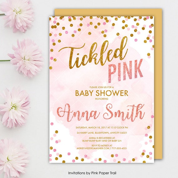 Tickled Pink Baby Shower Invitation Tickled Pink And Gold Confetti