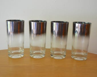 Mid Century Modern Silver Ombre Collin-style Cocktail Glasses
