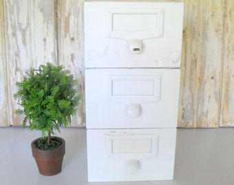 Vintage Industrial White Metal Filing Drawer,  Filing Drawers, Vintage Metal Box, Vintage Storage Box, White Drawer, Drawers, Set of 3