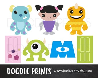 Digital Clip Art Printable, Monsters INC Design, Monster Clipart, Monsters Sully Mike Boo, Disney Pixar, Personal Use Only, Instant Download