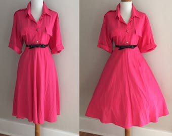 Vintage 50s Style 80s Dress / Retro 1980s Secretary Dress / Hot Pink Shirt Dress /Pin Up Dress/ Short Sleeve Full Skirt Day Dress / Mad Men