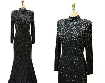 SALE 70s 80s Vintage Black Evening Gown With Rhinestones and Pearls Long Sleeves Medium Large// Vintage Black Dress Long Metallic Pageant Go