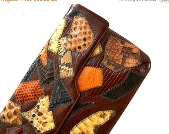 SALE Vintage Leather Clutch Brown Snakeskin Python Reptile Patchwork Caprice// 70s 80s Vintage Brown Purse patchwork leather