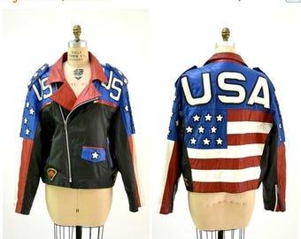 SALE Mens Vintage Black Leather Motorcycle Jacket USA American Flag LA Roxx// Vintage Mens Leather Jacket Biker America Jacket L.A. Roxx