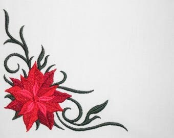 Poinsettia embroidered quilt label to customize with your personal message