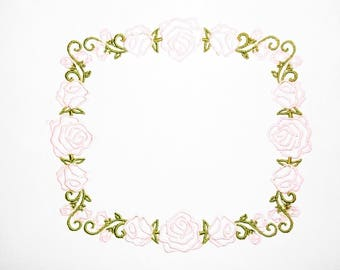Sweet pink roses embroidered quilt label to customize with your personal message