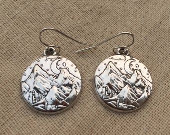 Silver Mountain Earrings - Mountain Range   Earrings - Scenic Jewelry - Landscape Jewelry - Mountain Jewelry