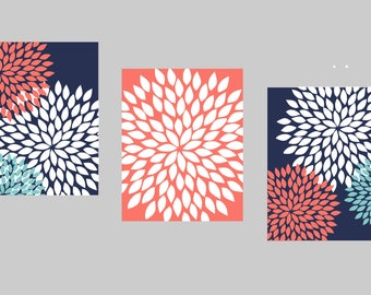 Navy Coral Teal Wall Art, Bedroom Pictures, Bathroom Artwork, Flower Wall Art, Floral Prints, Flower Burst Dahlia, Home Decor, Bath Wall Art