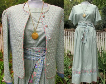 Vera Bradley Indiana Mist Green 4 piece 1980s Quilted Jacket, Skirt, Top, Sash Suit Excellent Condition