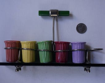 Vintage deco looking ceramic shot glass holder