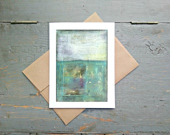 """Abstract Art Card, 5x7"""" Greeting Card with Kraft Brown Envelope, Mixed Media Card, Recycled Card, Eco-Friendly, Aqua, Turquoise """"Pacific"""""""