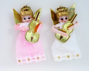 2 Christmas Angels, Vintage Organza Angel Ornaments, Kitsch Holiday Tree Decorations, Pink Holiday Decor, Pink White Angels Decoration