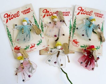 Vintage Christmas Decorations, Tulle Angels, Christmas Angels, Gift Decorations, Pink Christmas Decor, Angel Ornaments, Gift Wrap Angels