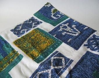 Striking retro mod abstract print cotton tiki turquoise blue gold like barkcloth vintage fabric material 2.5 yards