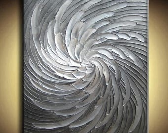 SALE Abstract Textured Painting Big Custom Original Heavy Impasto White Silver Gray Black Floral Oil by Je Hlobik