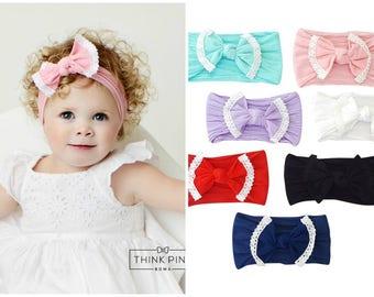 Baby headbands, girls headbands, Baby Headband, Newborn headbands,Baby Nylon Headband, nylon headbands,Nylon Top Knot Bow Headwrap head wrap