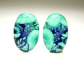 Elegant Morenci Azurite Malachite Matched Cabochon Pair with Blues and Greens, Ideal for Jewelry Design