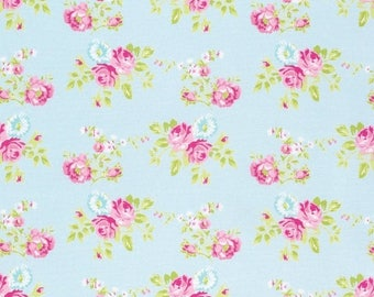 SALE 10% Off - Last Piece - Zoey Rose in Blue pwtw119 - ZOEY'S Garden by Tanya Whelan for Free Spirit Fabrics - 3/4 yard