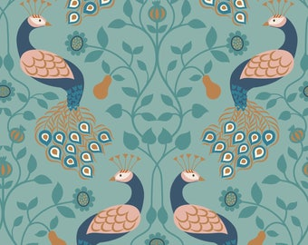 Peacock and Pear on Blue  A245.2 - CHIEVELEY - Lewis and Irene Fabric - By the Yard