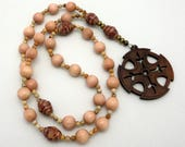 Rosewood Anglican Prayer Beads / Anglican Rosary / Protestant Prayer Beads with Walnut Cross