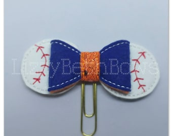 Planner clip, bookmark, planner bow clip, bow bookmark, Detroit tigers inspired clip, orange blue, baseball fan clip, detroit michigan